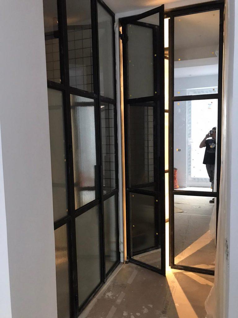 Puerta Forja interior hierro y cristal Industrial (10)