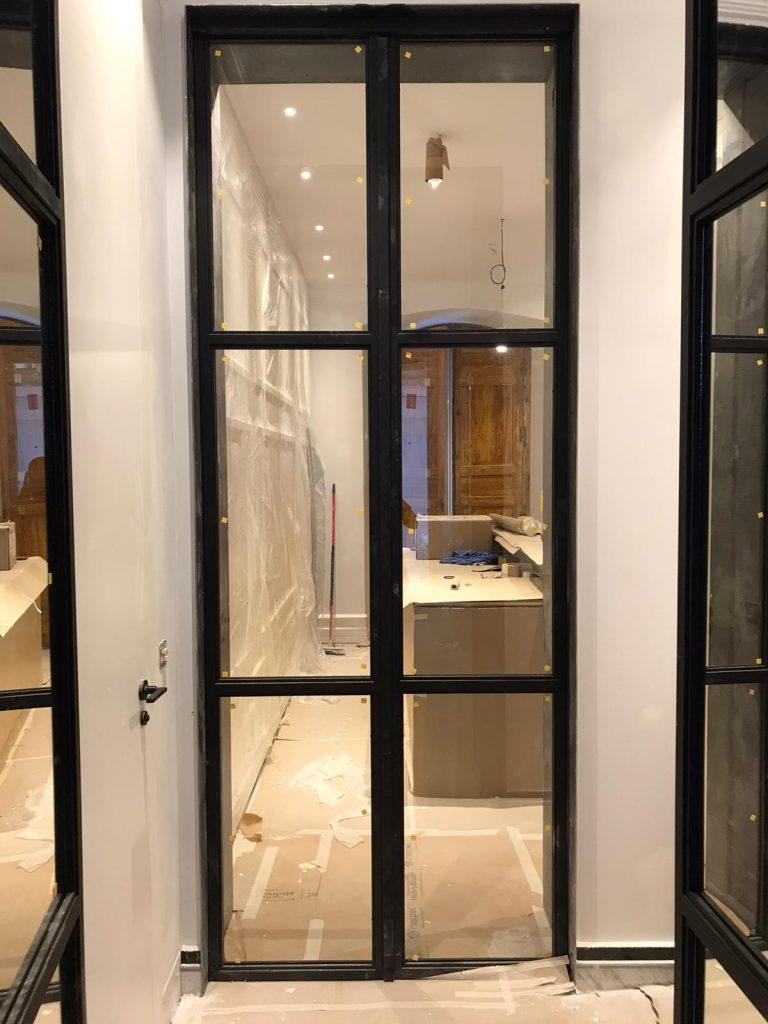 Puerta Forja interior hierro y cristal Industrial (6)
