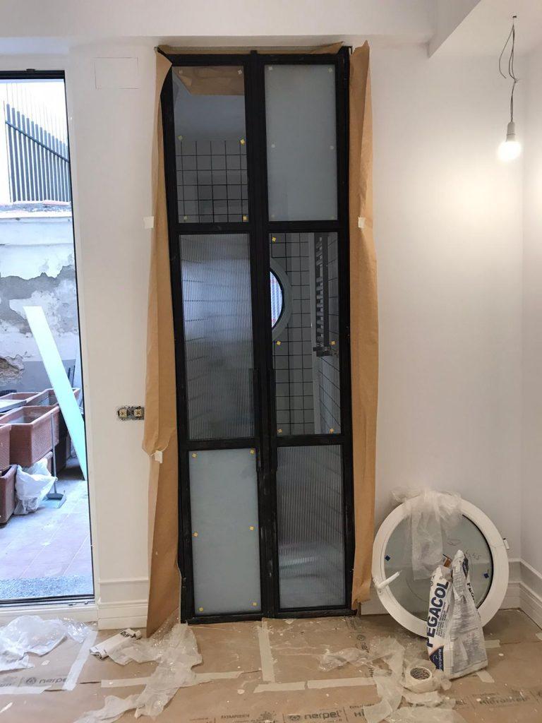 Puerta Forja interior hierro y cristal Industrial (7)