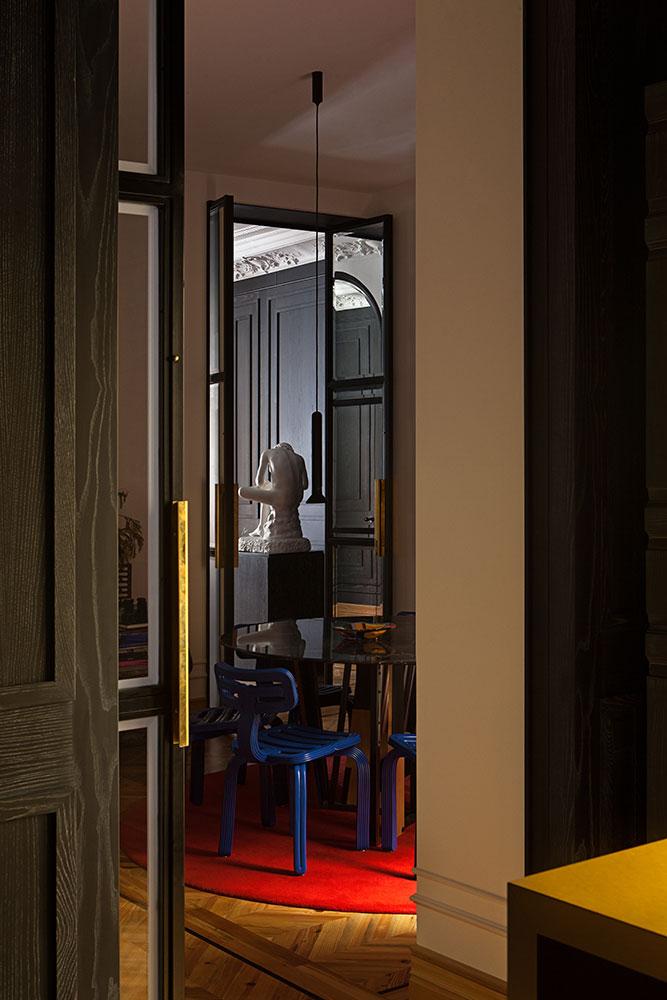 Puerta de forja interior Hierro y cristal, tiradores Latón (2)